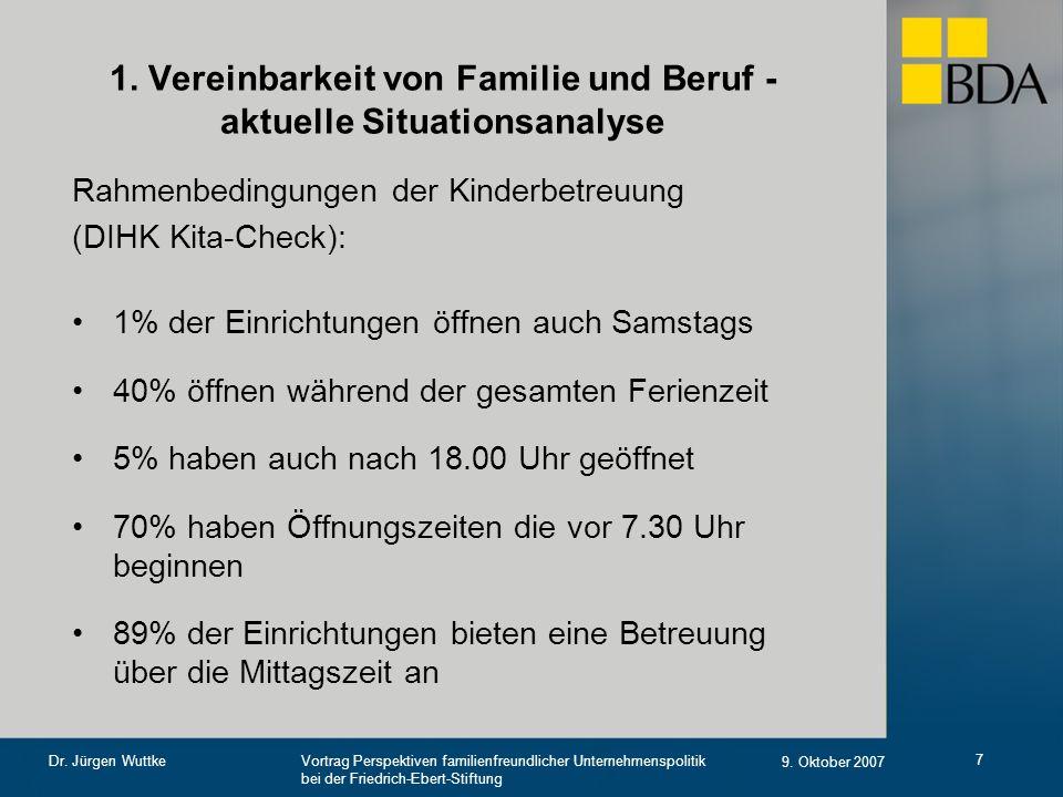 Vortrag Perspektiven familienfreundlicher Unternehmenspolitik bei der Friedrich-Ebert-Stiftung 9. Oktober 2007 Dr. Jürgen Wuttke 7 1. Vereinbarkeit vo