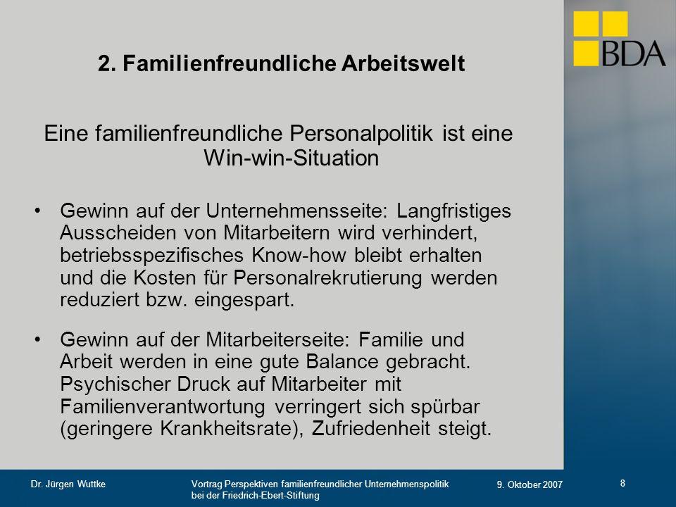 Vortrag Perspektiven familienfreundlicher Unternehmenspolitik bei der Friedrich-Ebert-Stiftung 9. Oktober 2007 Dr. Jürgen Wuttke 8 2. Familienfreundli
