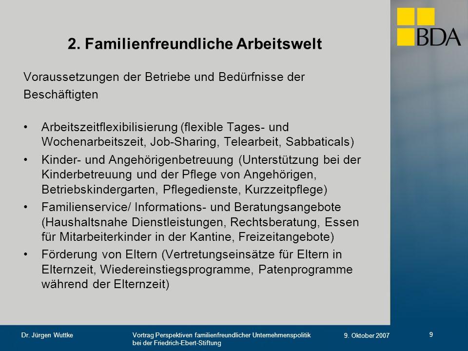 Vortrag Perspektiven familienfreundlicher Unternehmenspolitik bei der Friedrich-Ebert-Stiftung 9. Oktober 2007 Dr. Jürgen Wuttke 9 2. Familienfreundli