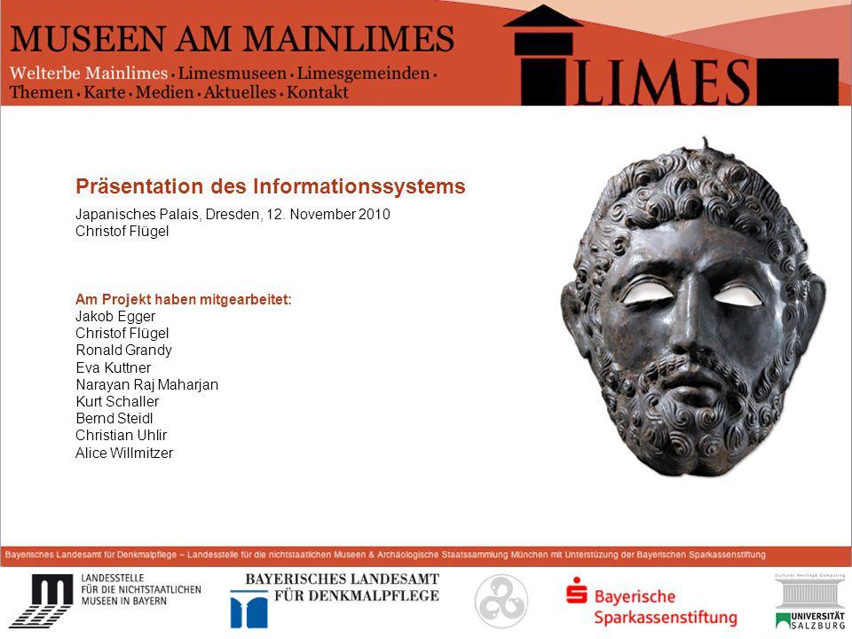 Start Präsentation des Informationssystems Japanisches Palais, Dresden, 12. November 2010 Christof Flügel Am Projekt haben mitgearbeitet: Jakob Egger