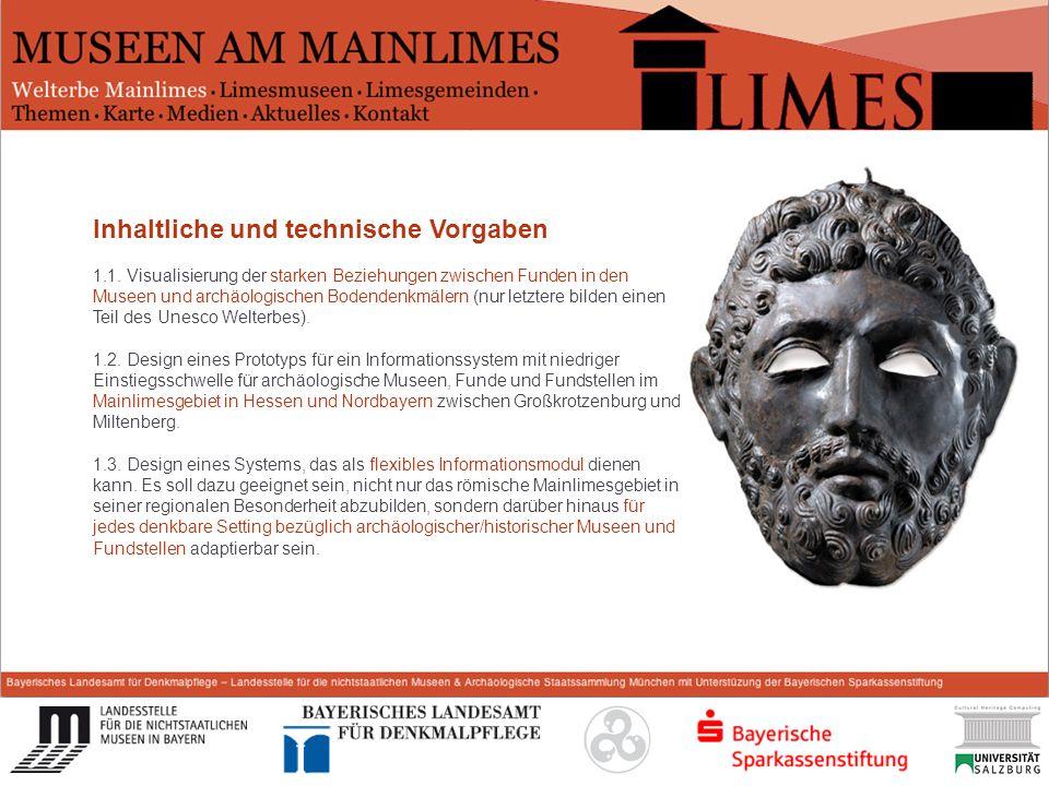 Start Inhaltliche und technische Vorgaben 1.1. Visualisierung der starken Beziehungen zwischen Funden in den Museen und archäologischen Bodendenkmäler