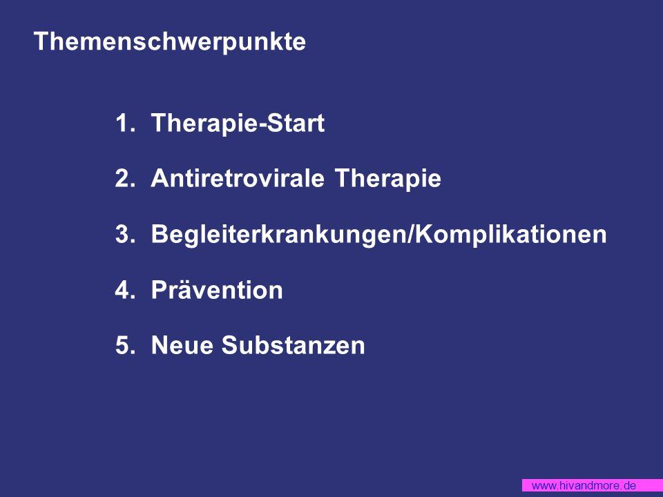 www.hivandmore.de MERIT: Anteil (%) Patienten mit VL<50 Kopien/ml zu Woche 48 (primärer Endpunkt) 0 Patienten in % 20 40 60 80 100 361 360 361 360 73,1 70,6 69,3 65,3 -3,0* (-9,5**) -4,2* (-10,9**) <400 cp/ml <50 cp/ml EFV+AZT/3TC MVC+AZT/3TC * Unterschied (adjustiert nach Randomisierungs-Strata) ** Untere Grenze des 97,5% Konfidenzintervall; Grenze für Non-inferiority = -10% Per-Protokol Analyse: <400 cp/ml Unterschied = 4,1 (-10,5**), <50 cp/ml Unterschied = -4,4 (-11,2**) n= mod.