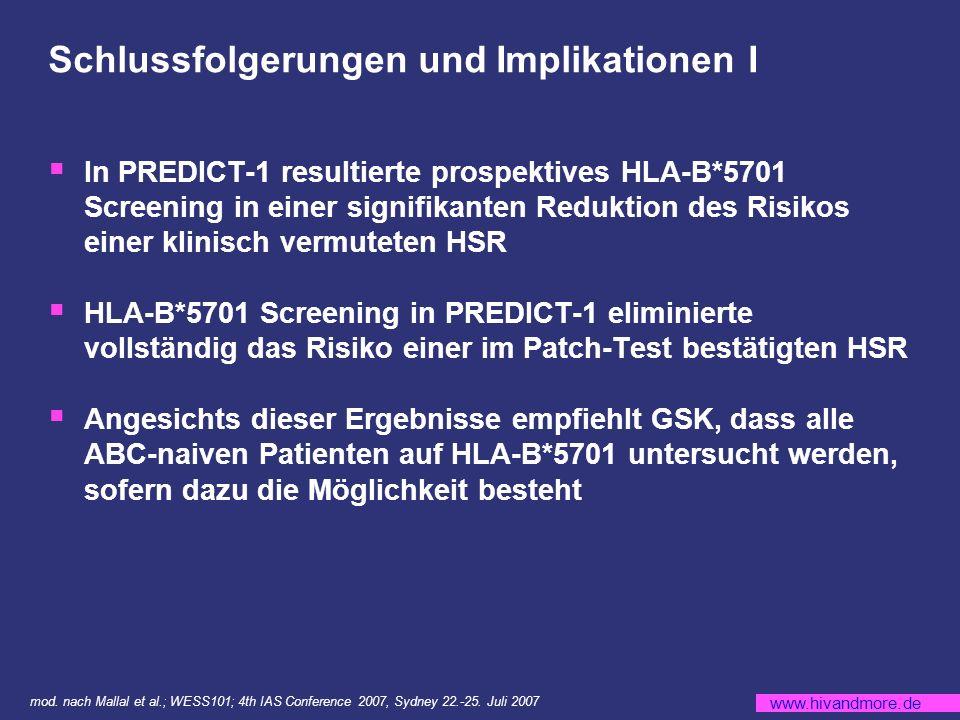 www.hivandmore.de Schlussfolgerungen und Implikationen I In PREDICT-1 resultierte prospektives HLA-B*5701 Screening in einer signifikanten Reduktion des Risikos einer klinisch vermuteten HSR HLA-B*5701 Screening in PREDICT-1 eliminierte vollständig das Risiko einer im Patch-Test bestätigten HSR Angesichts dieser Ergebnisse empfiehlt GSK, dass alle ABC-naiven Patienten auf HLA-B*5701 untersucht werden, sofern dazu die Möglichkeit besteht mod.