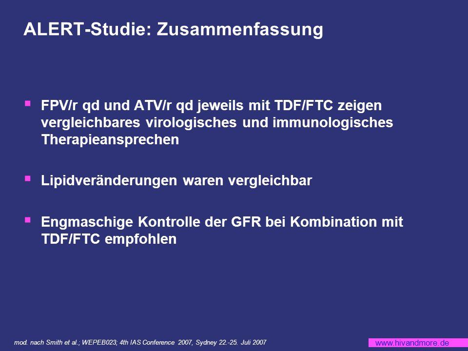 www.hivandmore.de ALERT-Studie: Zusammenfassung FPV/r qd und ATV/r qd jeweils mit TDF/FTC zeigen vergleichbares virologisches und immunologisches Therapieansprechen Lipidveränderungen waren vergleichbar Engmaschige Kontrolle der GFR bei Kombination mit TDF/FTC empfohlen mod.