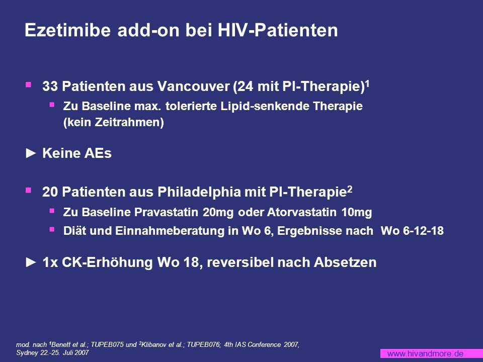 www.hivandmore.de Ezetimibe add-on bei HIV-Patienten 33 Patienten aus Vancouver (24 mit PI-Therapie) 1 Zu Baseline max.