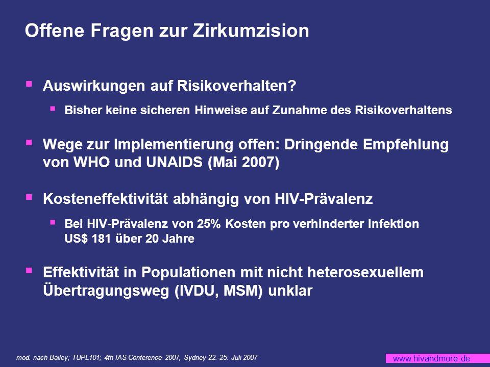 www.hivandmore.de Offene Fragen zur Zirkumzision Auswirkungen auf Risikoverhalten.