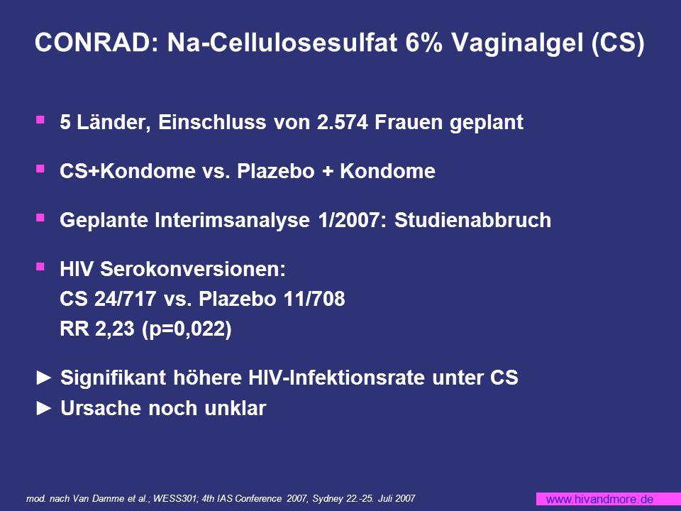 www.hivandmore.de CONRAD: Na-Cellulosesulfat 6% Vaginalgel (CS) 5 Länder, Einschluss von 2.574 Frauen geplant CS+Kondome vs.