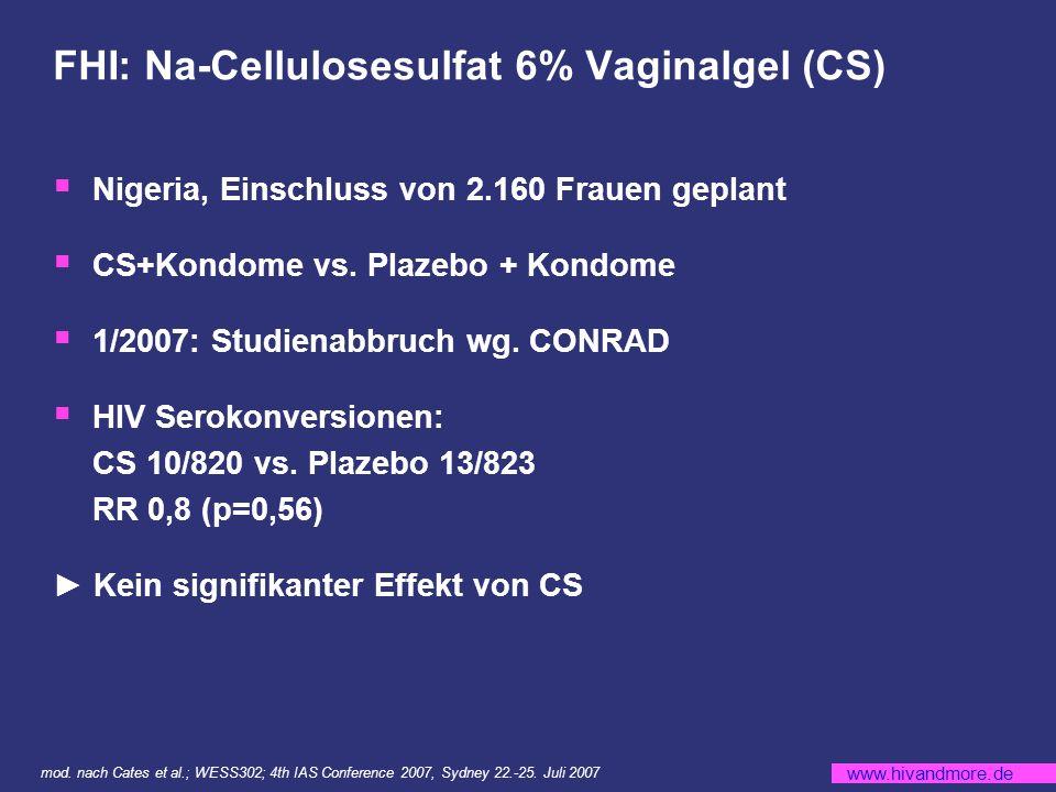 www.hivandmore.de FHI: Na-Cellulosesulfat 6% Vaginalgel (CS) Nigeria, Einschluss von 2.160 Frauen geplant CS+Kondome vs.