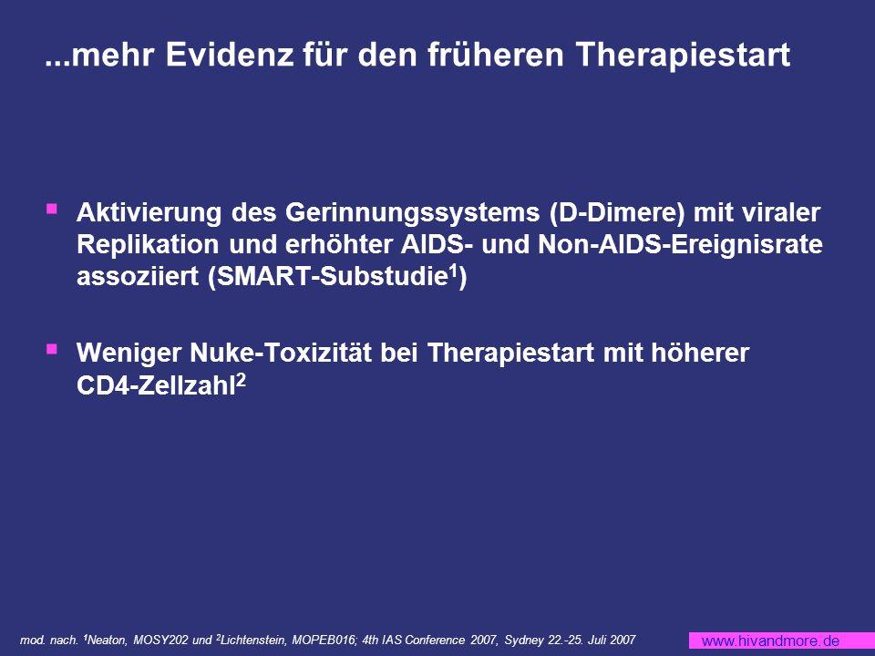 www.hivandmore.de...mehr Evidenz für den früheren Therapiestart Aktivierung des Gerinnungssystems (D-Dimere) mit viraler Replikation und erhöhter AIDS- und Non-AIDS-Ereignisrate assoziiert (SMART-Substudie 1 ) Weniger Nuke-Toxizität bei Therapiestart mit höherer CD4-Zellzahl 2 mod.