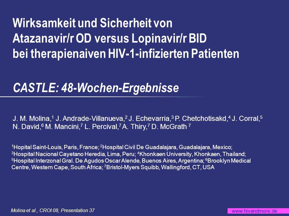 www.hivandmore.de Molina et al., CROI 08, Presentation 37 Screening/Enrollment HIV RNA 5.000 K/ml, jede CD4-Zellzahl Randomisiert n = 883 Stratifiziert : HIV RNA < 100.000 K/ml vs 100.000 K/ml; Geographische Region ATV/r 300/100 mg QD (n = 440) Internationale, offene, randomisierte Multizenter-Studie über 96 Wochen TDF/FTC 300/200 mg QD Studien-Design LPV/r 400/100 mg BID (n = 443) (1:1)