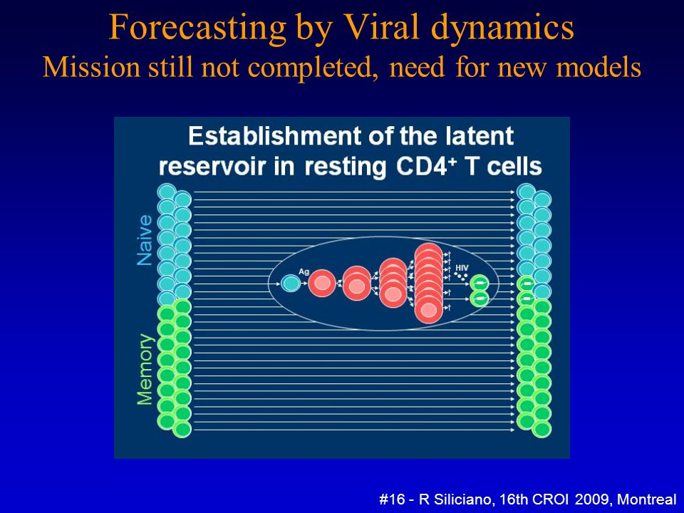 Forecasting by Viral dynamics Mission still not completed, need for new models #16 - R Siliciano, 16th CROI 2009, Montreal Prevalence of latently infected CD4+ T cells ~ 1 : 1.000.000