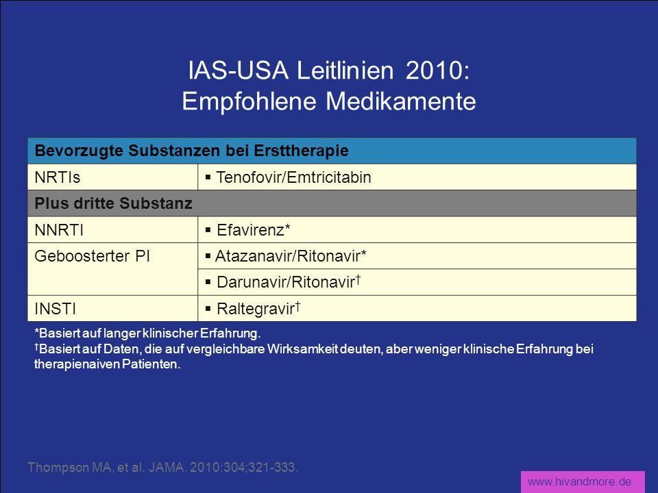 www.hivandmore.de IAS-USA Leitlinien 2010: Empfohlene Medikamente Bevorzugte Substanzen bei Ersttherapie NRTIs Tenofovir/Emtricitabin Plus dritte Substanz NNRTI Efavirenz* Geboosterter PI Atazanavir/Ritonavir* Darunavir/Ritonavir INSTI Raltegravir *Basiert auf langer klinischer Erfahrung.