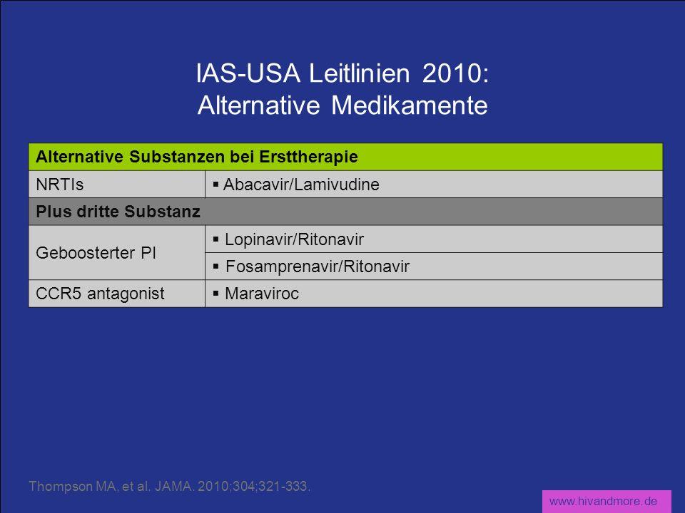www.hivandmore.de IAS-USA Leitlinien 2010: Alternative Medikamente Alternative Substanzen bei Ersttherapie NRTIs Abacavir/Lamivudine Plus dritte Substanz Geboosterter PI Lopinavir/Ritonavir Fosamprenavir/Ritonavir CCR5 antagonist Maraviroc Thompson MA, et al.