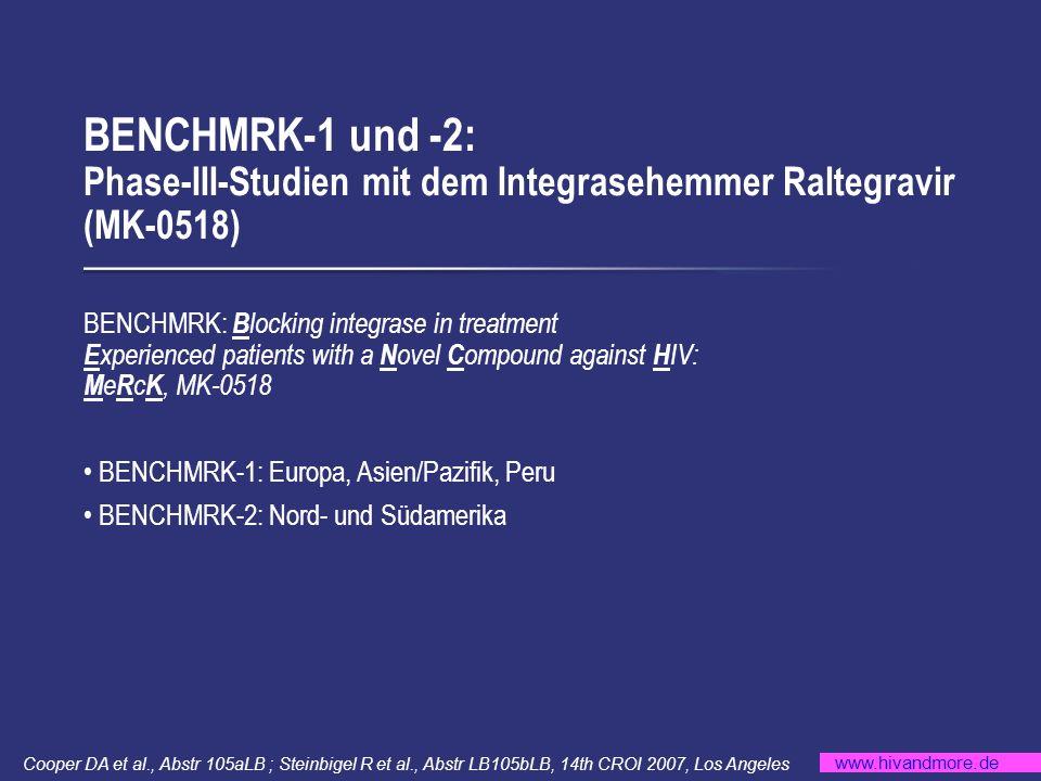www.hivandmore.de BENCHMRK-1 und -2: Phase-III-Studien mit dem Integrasehemmer Raltegravir (MK-0518) Cooper DA et al., Abstr 105aLB ; Steinbigel R et