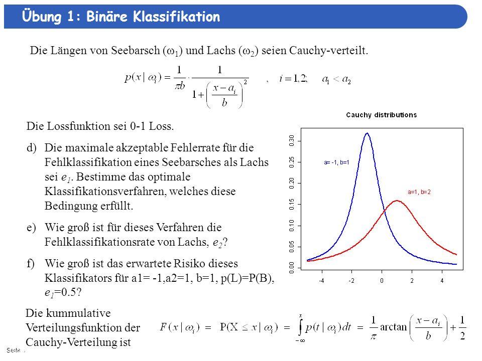 Seite 31/8/2014| Übung 1: Binäre Klassifikation Die Längen von Seebarsch (ω 1 ) und Lachs (ω 2 ) seien Cauchy-verteilt.