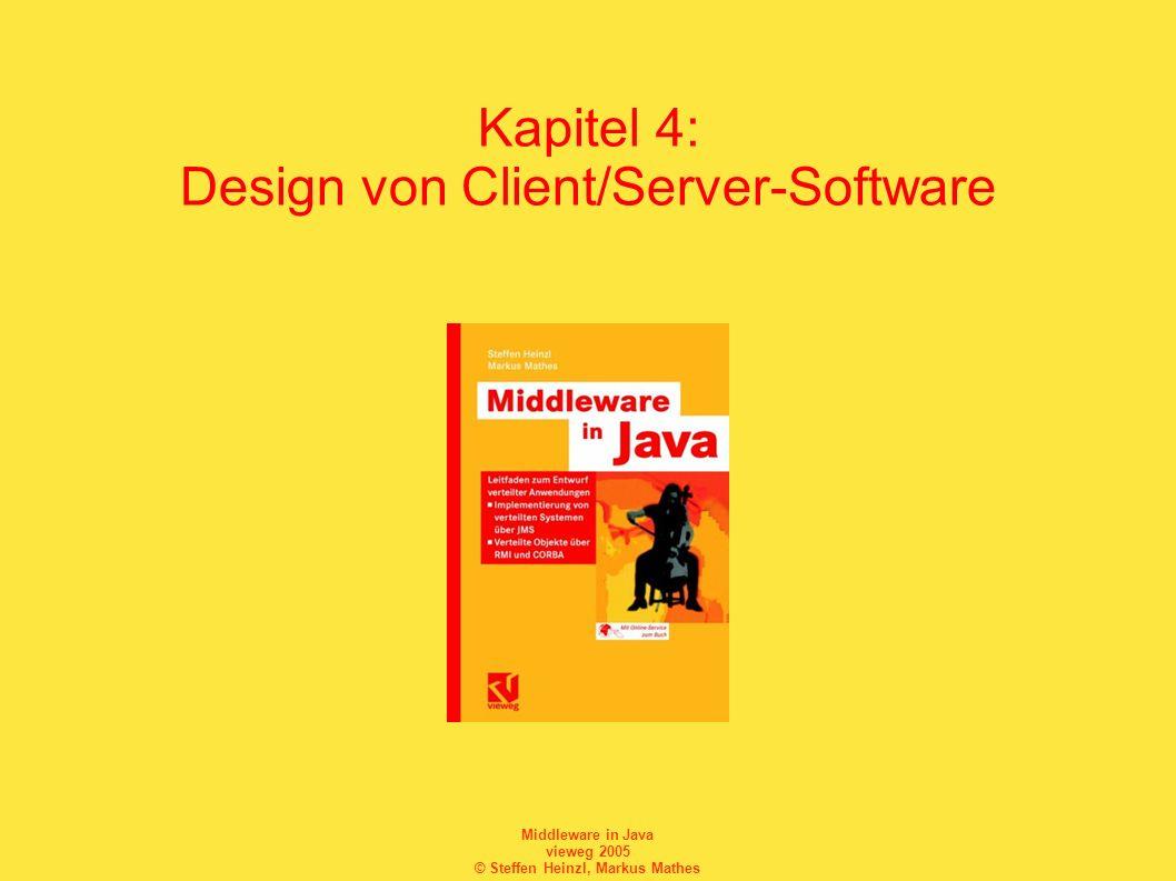 Middleware in Java vieweg 2005 © Steffen Heinzl, Markus Mathes Auflösung eines Host-Namens InetAddress ipAddr = null; try { // Namensauflösung ipAddr = InetAddress.getByName( www.fh- fulda.de ); } catch(UnknownHostException e) { e.printStackTrace(); System.exit(-1); }