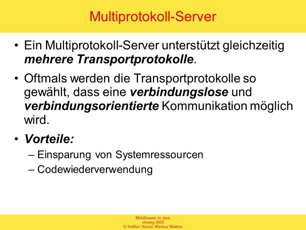 Middleware in Java vieweg 2005 © Steffen Heinzl, Markus Mathes Multiprotokoll-Server Ein Multiprotokoll-Server unterstützt gleichzeitig mehrere Transp