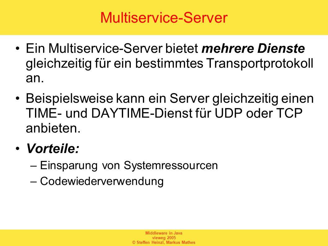Middleware in Java vieweg 2005 © Steffen Heinzl, Markus Mathes Multiservice-Server Ein Multiservice-Server bietet mehrere Dienste gleichzeitig für ein