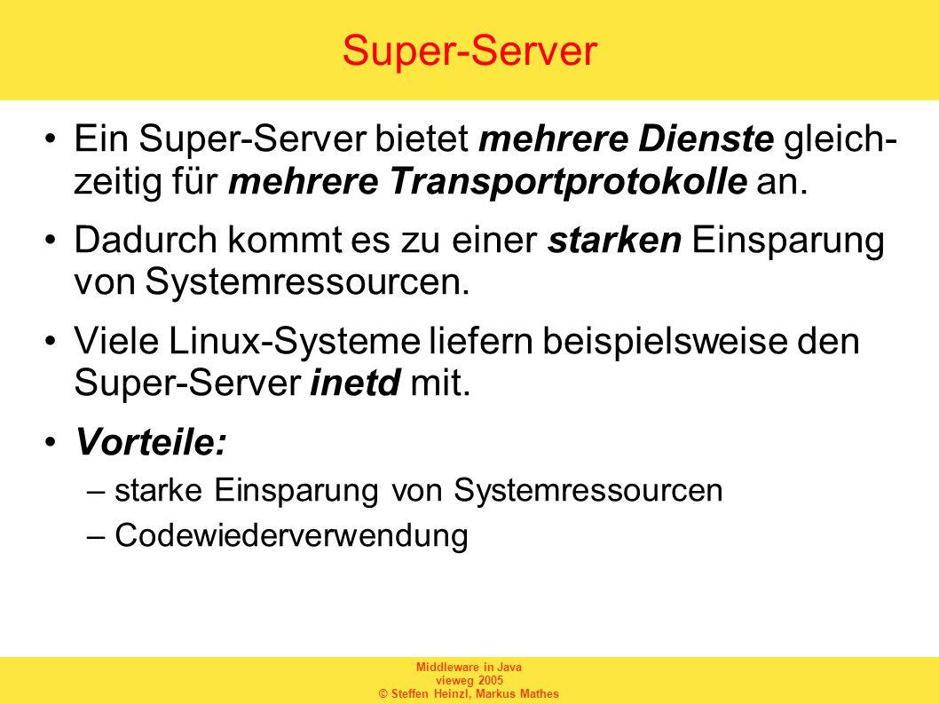 Middleware in Java vieweg 2005 © Steffen Heinzl, Markus Mathes Super-Server Ein Super-Server bietet mehrere Dienste gleich- zeitig für mehrere Transpo