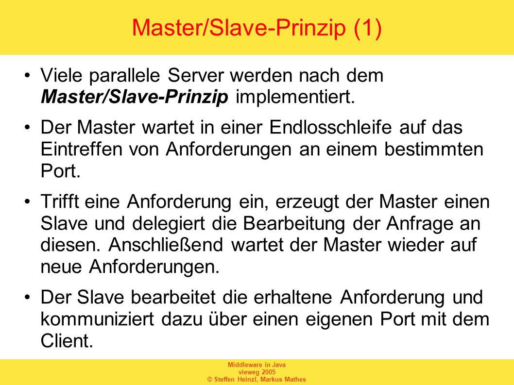 Middleware in Java vieweg 2005 © Steffen Heinzl, Markus Mathes Master/Slave-Prinzip (1) Viele parallele Server werden nach dem Master/Slave-Prinzip im