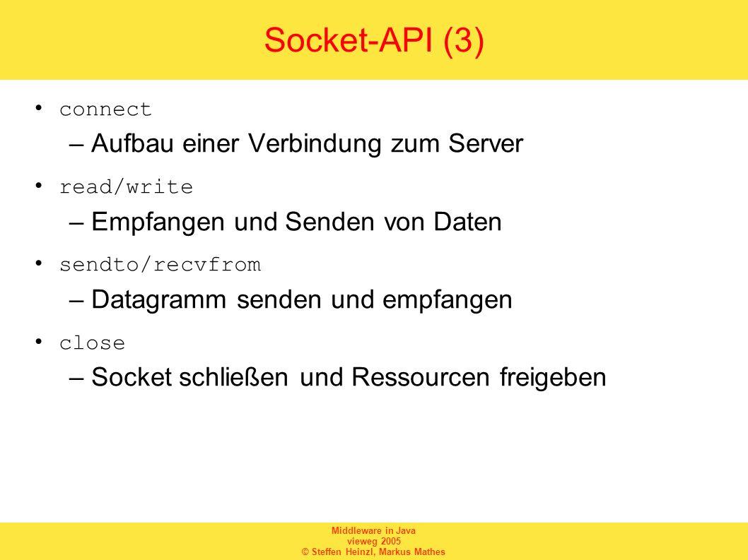 Middleware in Java vieweg 2005 © Steffen Heinzl, Markus Mathes Socket-API (3) connect –Aufbau einer Verbindung zum Server read/write –Empfangen und Se