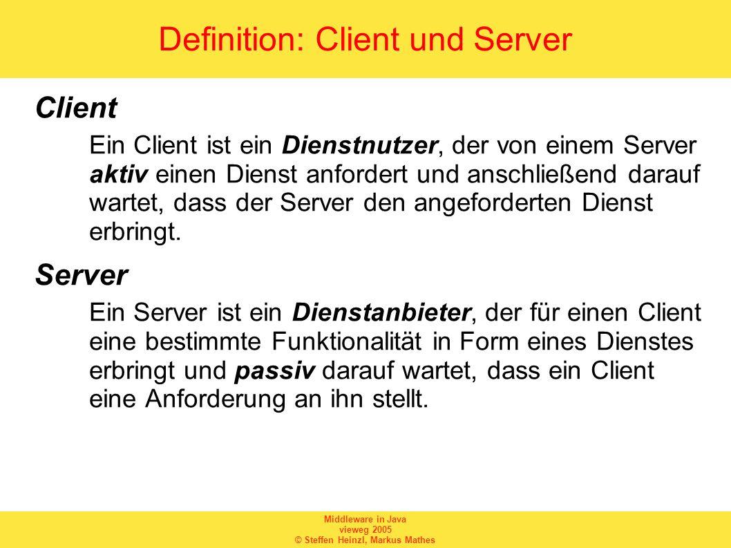 Middleware in Java vieweg 2005 © Steffen Heinzl, Markus Mathes DatagramPacket und DatagramSocket Ein DatagramSocket repräsentiert einen UDP- Socket und besitzt die drei wichtigen Konstruktoren –DatagramSocket() –DatagramSocket(int port) –DatagramSocket(int port, InetAddress laddr) Ein DatagramPacket repräsentiert ein UDP-Paket und besitzt die Konstruktoren –DatagramPacket(byte[] buf, int length) –DatagramPacket(byte[] buf, int length, InetAddress address, int port)