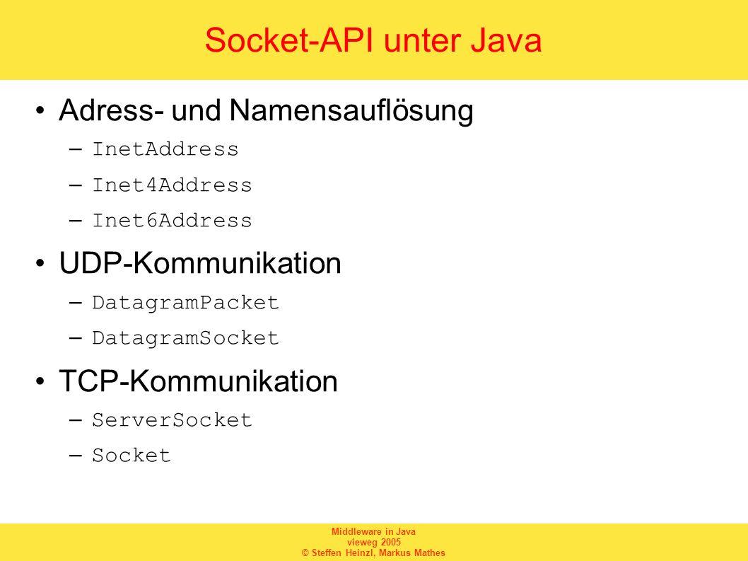 Middleware in Java vieweg 2005 © Steffen Heinzl, Markus Mathes Socket-API unter Java Adress- und Namensauflösung –InetAddress –Inet4Address –Inet6Addr