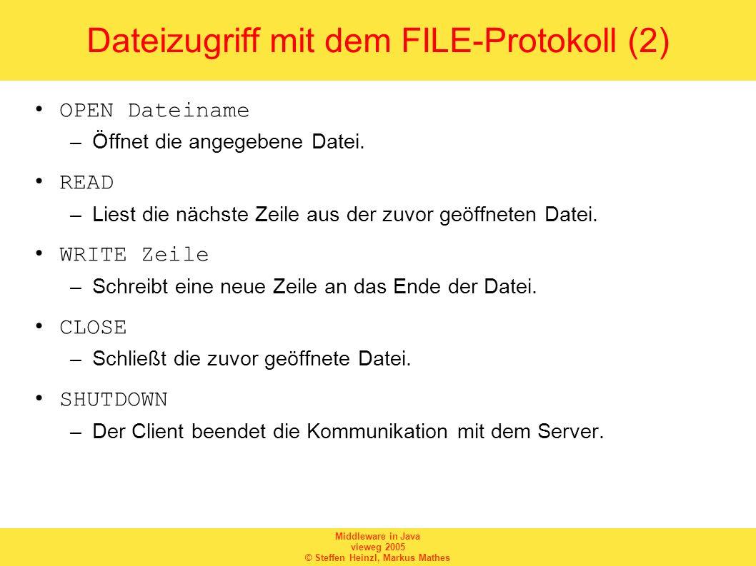 Middleware in Java vieweg 2005 © Steffen Heinzl, Markus Mathes Dateizugriff mit dem FILE-Protokoll (2) OPEN Dateiname –Öffnet die angegebene Datei. RE