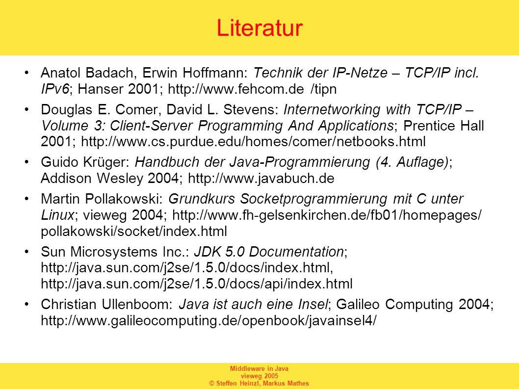 Middleware in Java vieweg 2005 © Steffen Heinzl, Markus Mathes Literatur Anatol Badach, Erwin Hoffmann: Technik der IP-Netze – TCP/IP incl. IPv6; Hans