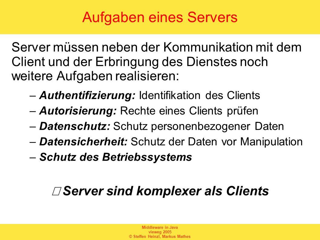 Middleware in Java vieweg 2005 © Steffen Heinzl, Markus Mathes Aufgaben eines Servers Server müssen neben der Kommunikation mit dem Client und der Erb