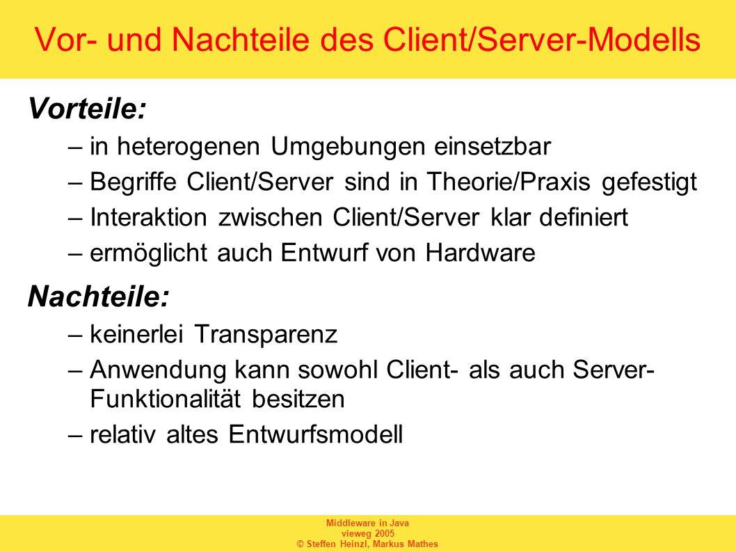 Middleware in Java vieweg 2005 © Steffen Heinzl, Markus Mathes Vor- und Nachteile des Client/Server-Modells Vorteile: –in heterogenen Umgebungen einse