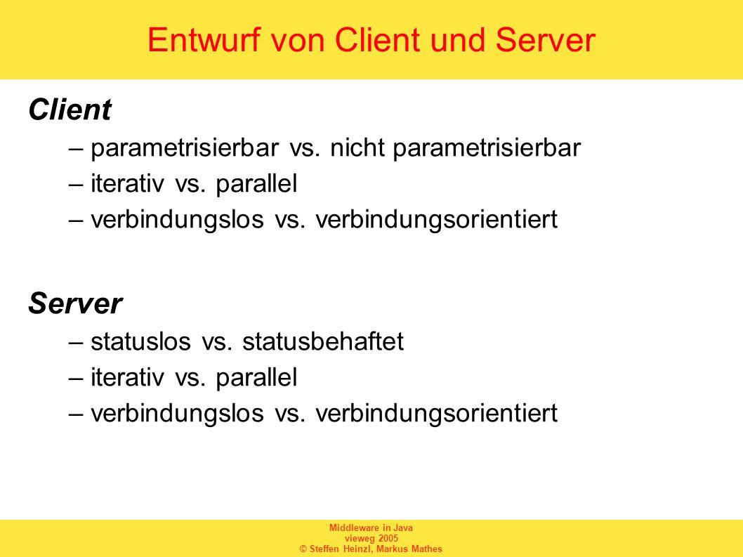 Middleware in Java vieweg 2005 © Steffen Heinzl, Markus Mathes Entwurf von Client und Server Client –parametrisierbar vs. nicht parametrisierbar –iter