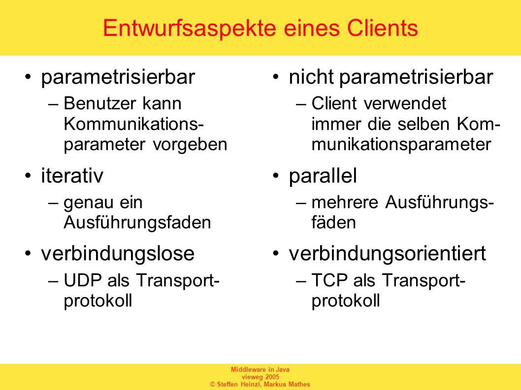 Middleware in Java vieweg 2005 © Steffen Heinzl, Markus Mathes Entwurfsaspekte eines Clients parametrisierbar –Benutzer kann Kommunikations- parameter
