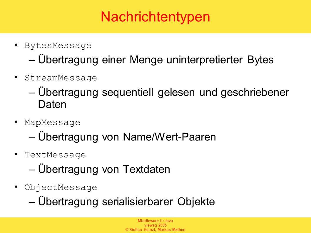 Middleware in Java vieweg 2005 © Steffen Heinzl, Markus Mathes Nachrichtentypen BytesMessage –Übertragung einer Menge uninterpretierter Bytes StreamMe