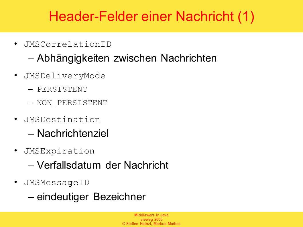 Middleware in Java vieweg 2005 © Steffen Heinzl, Markus Mathes Header-Felder einer Nachricht (1) JMSCorrelationID –Abhängigkeiten zwischen Nachrichten