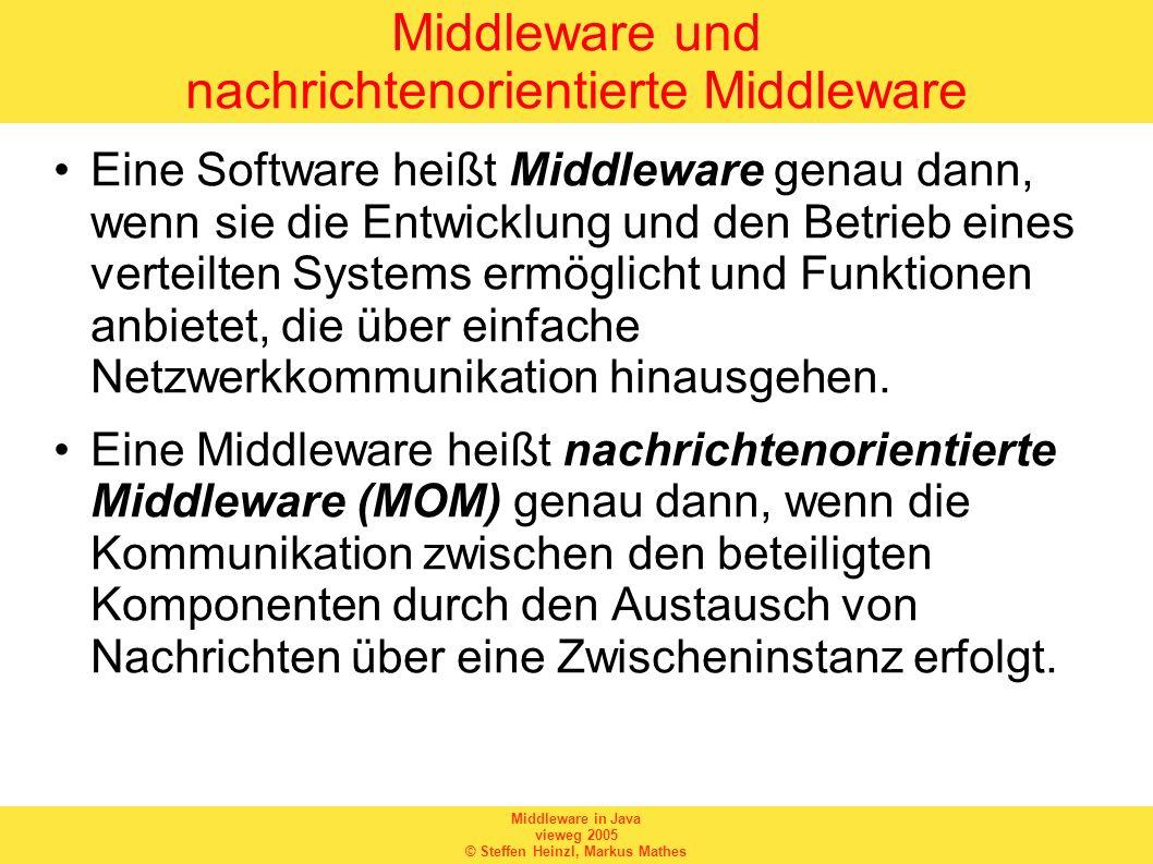 Middleware in Java vieweg 2005 © Steffen Heinzl, Markus Mathes Vor- und Nachteile einer MOM Vorteile: –Kommunikation auf hohem Abstraktionsniveau –lose Kopplung zwischen einzelnen Komponenten –Entwickler können sich auf Anwendungslogik konzentrieren Nachteile: –nicht out-of-the-box verwendbar –zusätzlicher Overhead –ungeeignet für Echtzeitsysteme –zusätzliche Lizenzkosten