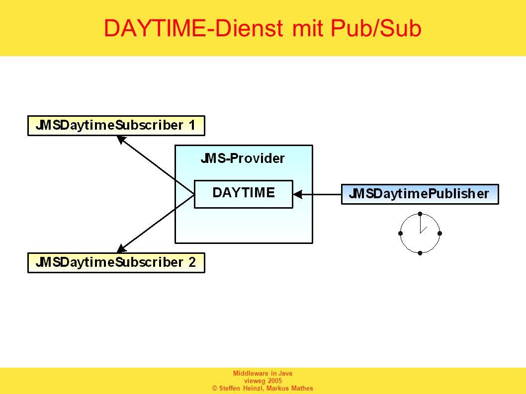 Middleware in Java vieweg 2005 © Steffen Heinzl, Markus Mathes DAYTIME-Dienst mit Pub/Sub
