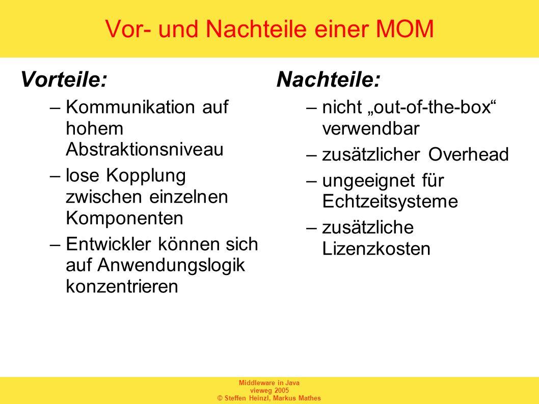 Middleware in Java vieweg 2005 © Steffen Heinzl, Markus Mathes Vor- und Nachteile einer MOM Vorteile: –Kommunikation auf hohem Abstraktionsniveau –los
