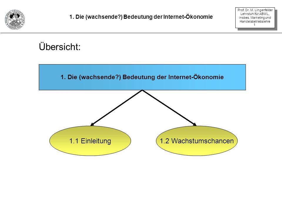 Prof. Dr. M. Lingenfelder Lehrstuhl für ABWL, insbes. Marketing und Handelsbetriebslehre 1 1. Die (wachsende?) Bedeutung der Internet-Ökonomie 1.1 Ein