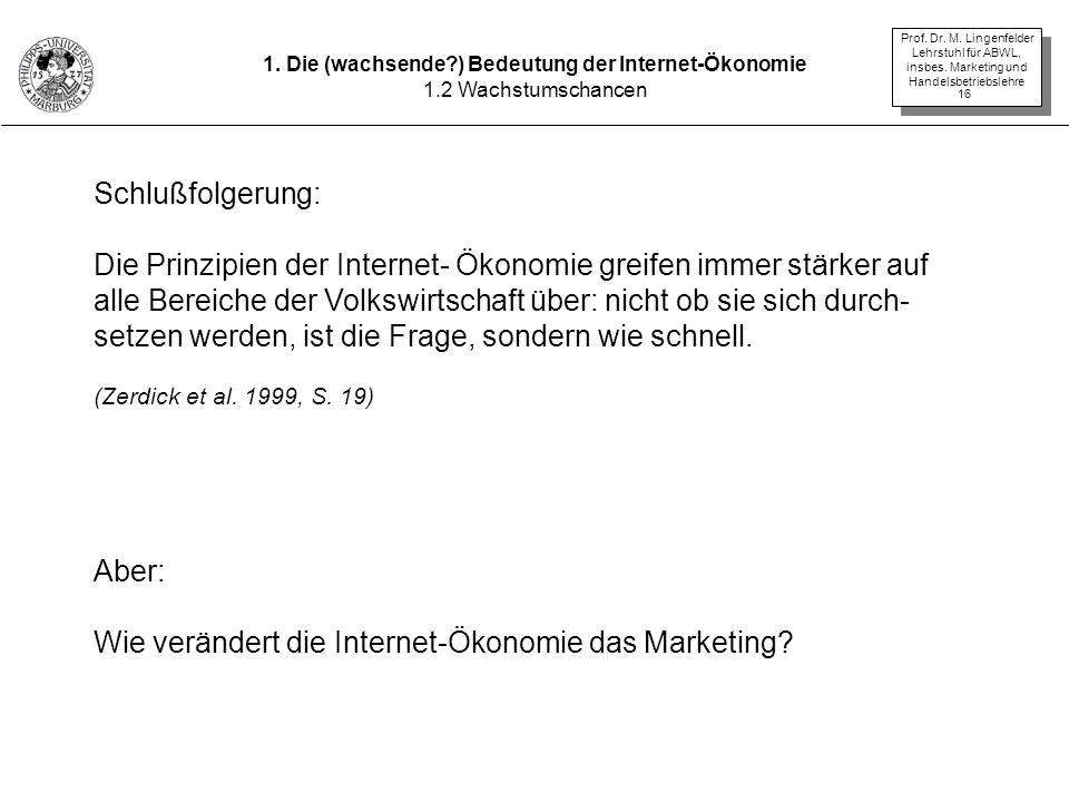 Prof. Dr. M. Lingenfelder Lehrstuhl für ABWL, insbes. Marketing und Handelsbetriebslehre 16 Schlußfolgerung: Die Prinzipien der Internet- Ökonomie gre