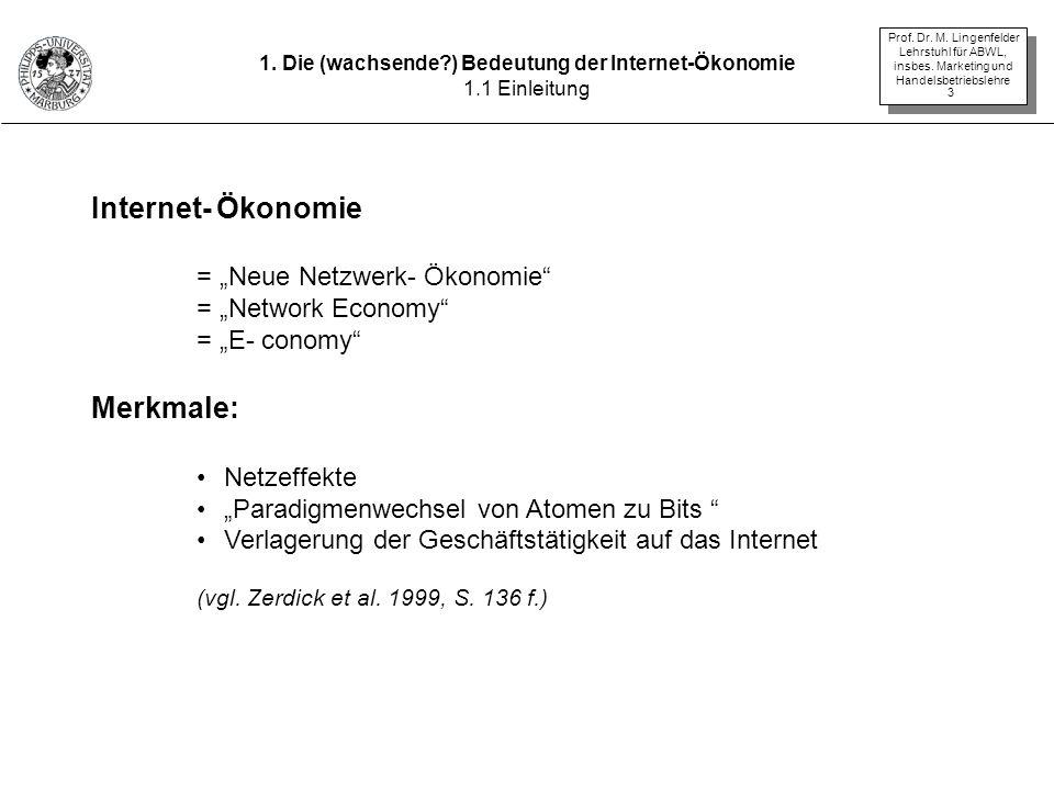Prof. Dr. M. Lingenfelder Lehrstuhl für ABWL, insbes. Marketing und Handelsbetriebslehre 3 Internet- Ökonomie = Neue Netzwerk- Ökonomie = Network Econ
