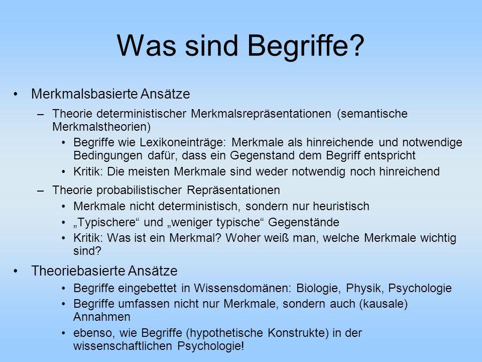 Was sind Begriffe? Merkmalsbasierte Ansätze –Theorie deterministischer Merkmalsrepräsentationen (semantische Merkmalstheorien) Begriffe wie Lexikonein
