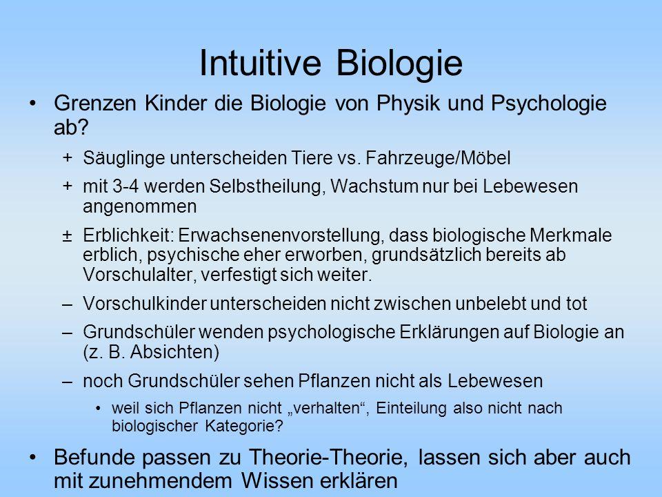 Intuitive Biologie Grenzen Kinder die Biologie von Physik und Psychologie ab? +Säuglinge unterscheiden Tiere vs. Fahrzeuge/Möbel +mit 3-4 werden Selbs