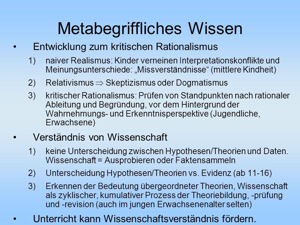 Metabegriffliches Wissen Entwicklung zum kritischen Rationalismus 1)naiver Realismus: Kinder verneinen Interpretationskonflikte und Meinungsunterschie