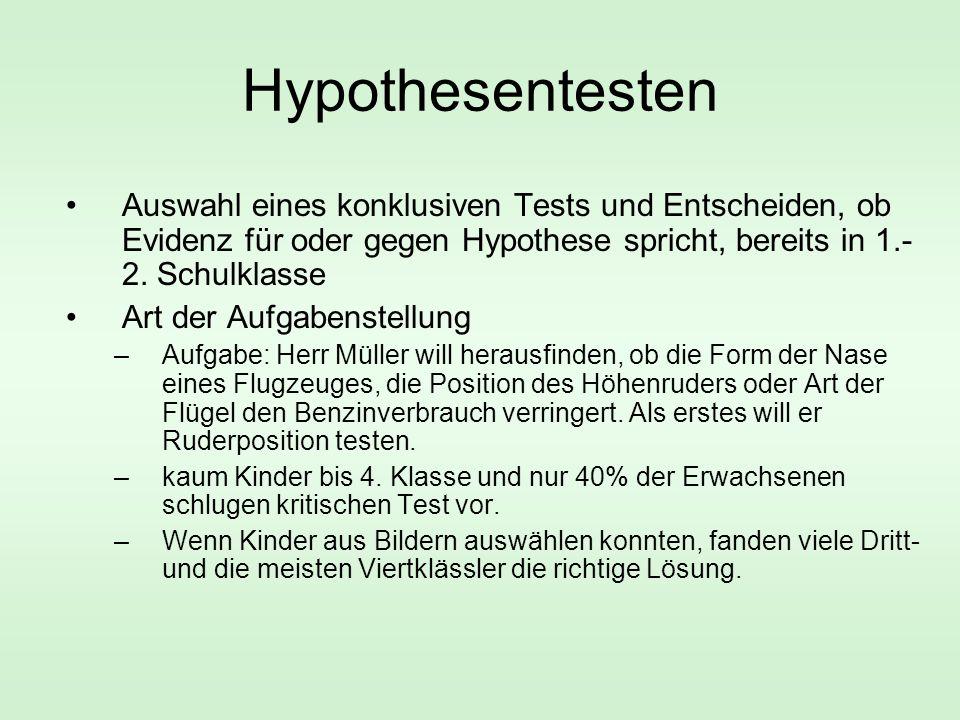 Hypothesentesten Auswahl eines konklusiven Tests und Entscheiden, ob Evidenz für oder gegen Hypothese spricht, bereits in 1.- 2. Schulklasse Art der A