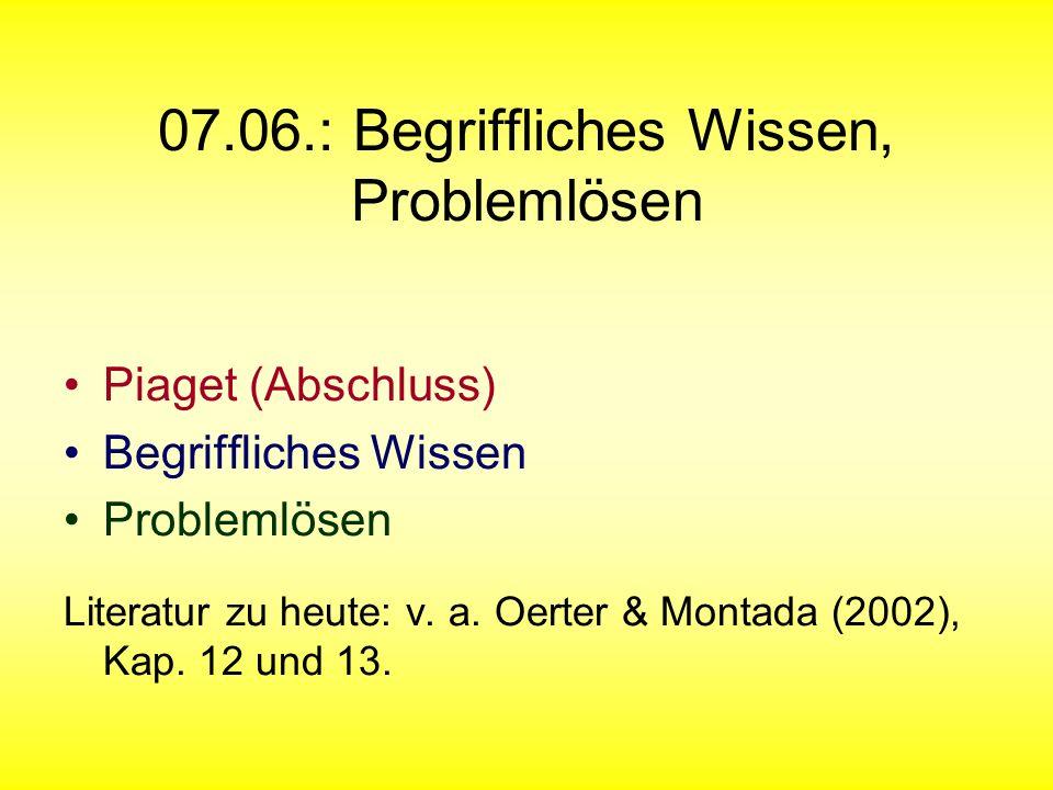 07.06.: Begriffliches Wissen, Problemlösen Piaget (Abschluss) Begriffliches Wissen Problemlösen Literatur zu heute: v. a. Oerter & Montada (2002), Kap