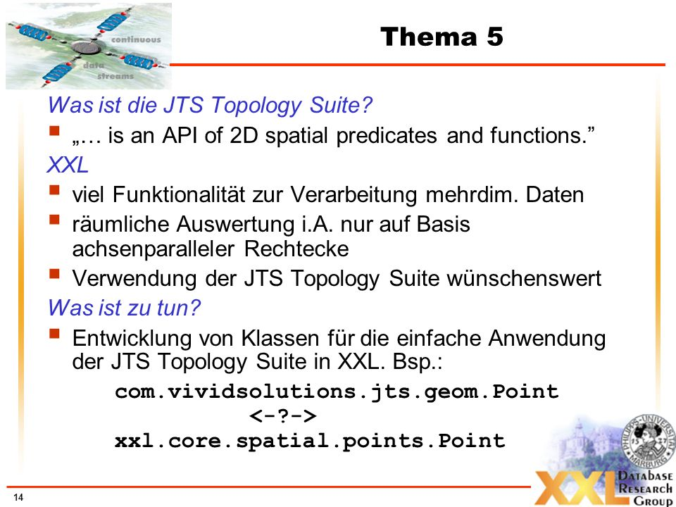 14 Thema 5 Was ist die JTS Topology Suite? … is an API of 2D spatial predicates and functions. XXL viel Funktionalität zur Verarbeitung mehrdim. Daten