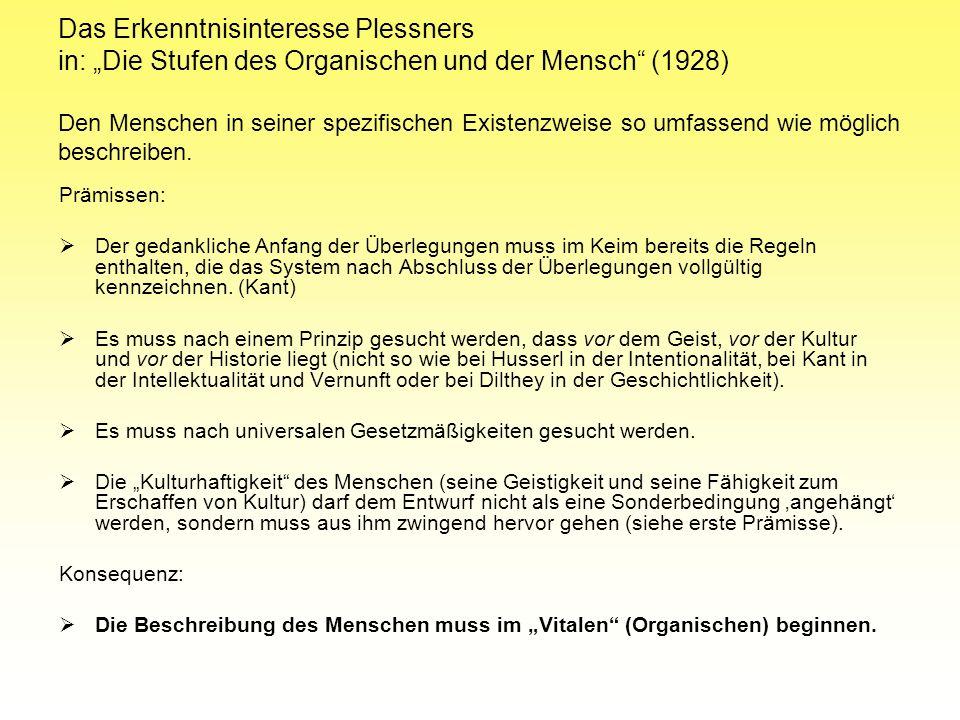 Das Erkenntnisinteresse Plessners in: Die Stufen des Organischen und der Mensch (1928) Den Menschen in seiner spezifischen Existenzweise so umfassend