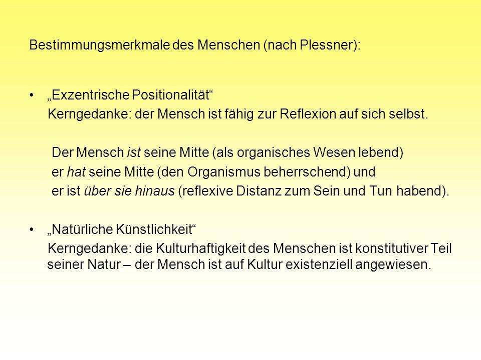 Bestimmungsmerkmale des Menschen (nach Plessner): Exzentrische Positionalität Kerngedanke: der Mensch ist fähig zur Reflexion auf sich selbst. Der Men