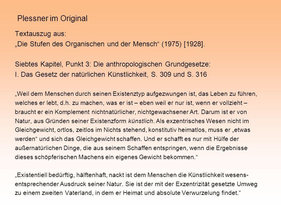 Plessner im Original Textauszug aus: Die Stufen des Organischen und der Mensch (1975) [1928]. Siebtes Kapitel, Punkt 3: Die anthropologischen Grundges